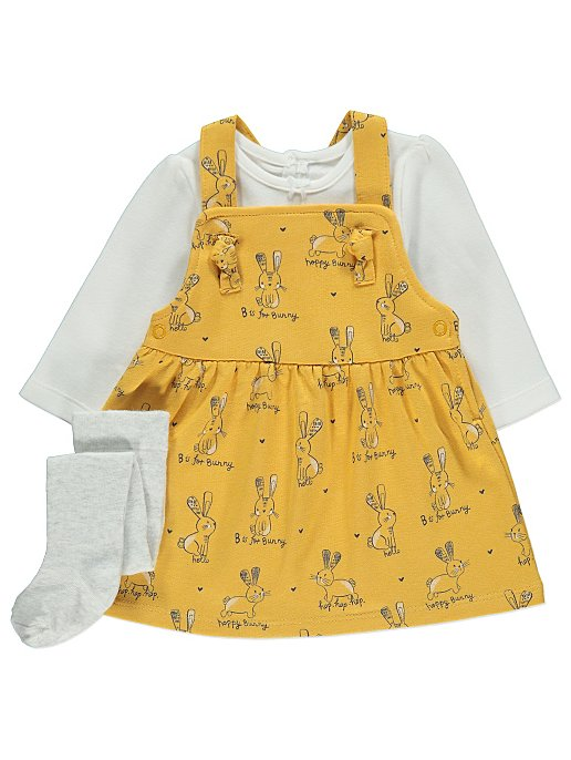 ad0af1523caa Bunny Pinafore Dress Bodysuit and Tights Outfit