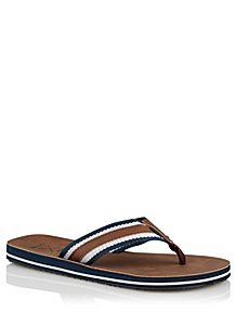 39c2fc303608e9 Tan Woven Stripe Flip Flops
