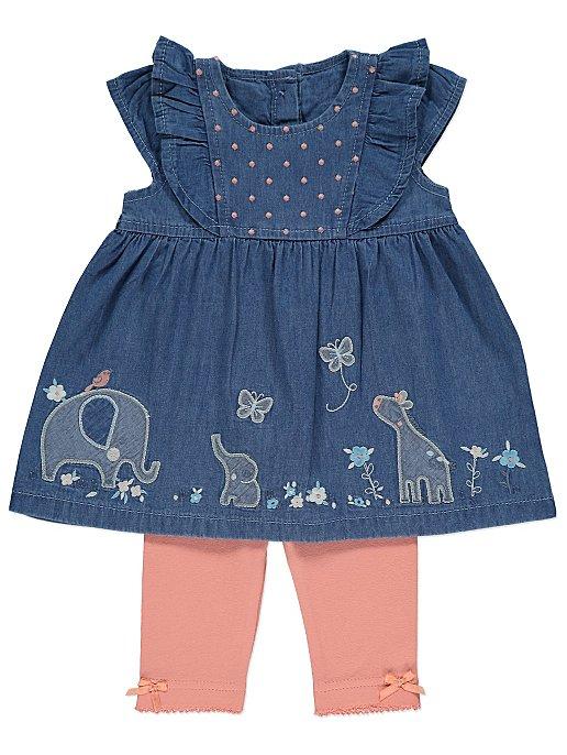 ec1a6c2fad0a Blue Embroidered Safari Dress and Leggings Outfit