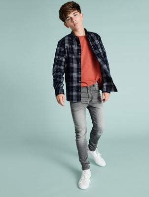 Grey Wash Denim Look Jersey Feel Skinny Jeans