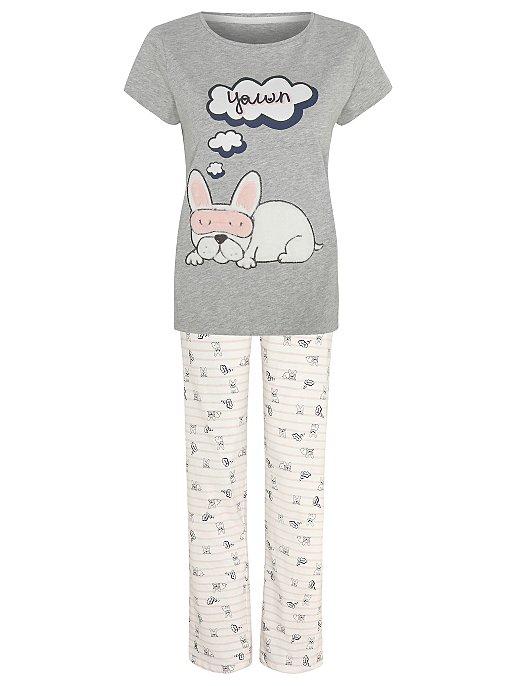89dec6f64a Grey Marl Sleeping Dog Slogan Pyjamas