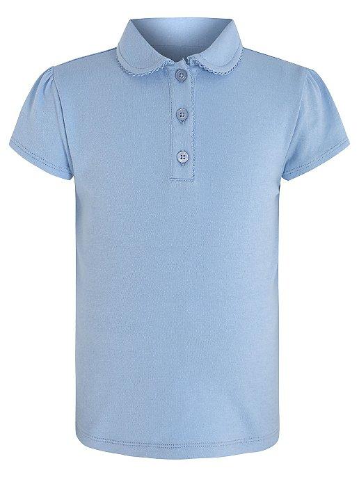 d5af3b98 Girls Blue Picot Trim School Polo Shirt | School | George
