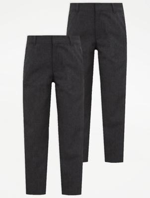 Boys Grey Slim Leg School Trouser 2 Pack