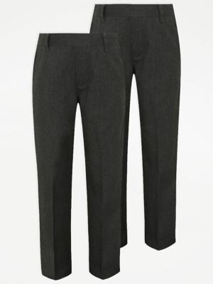 Boys Grey Half Elastic School Trouser 2 Pack