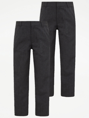 Boys Grey Regular Leg School Trouser 2 Pack