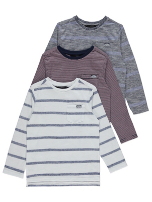 Long Sleeve Striped Tops 3 Pack