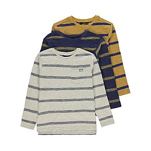 Striped Long Sleeve Tops 3 Pack