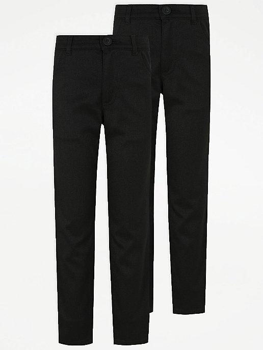 e3dfb2b2a060 Boys Black Skinny Leg Jean Style Trousers 2 Pack   School   George