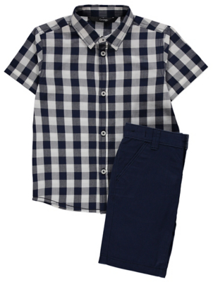 Gingham Print Shirt and Shorts Outfit
