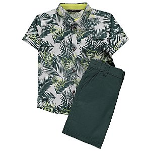 Green Palm Leaf Print Shirt and Shorts Outfit