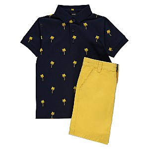 Navy Palm Tree Print Polo Shirt and Shorts Outfit
