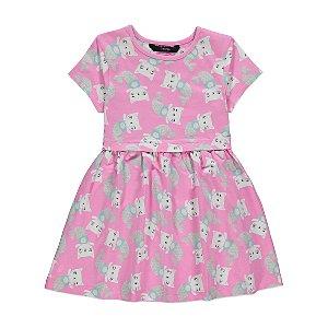 Pink Mermaid Cat Print Dress