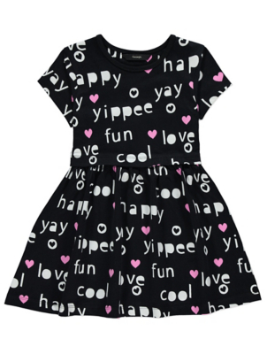 Black Slogan Print Dress