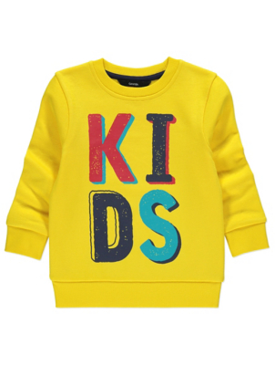 Yellow Kids Slogan Sweatshirt