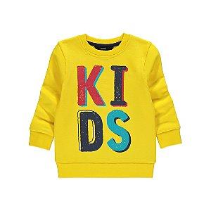 Yellow Kids Slogan Sweatshirt