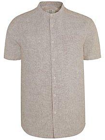 cee83ca95c57 Short Sleeve Linen Blend Grandad Collar Shirt