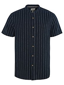 2e2753ce Navy Short Sleeve Grandad Collar Stripe Shirt