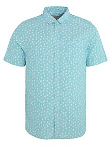 efbc8a08c Turquoise Short Sleeve Linen Blend Floral Shirt