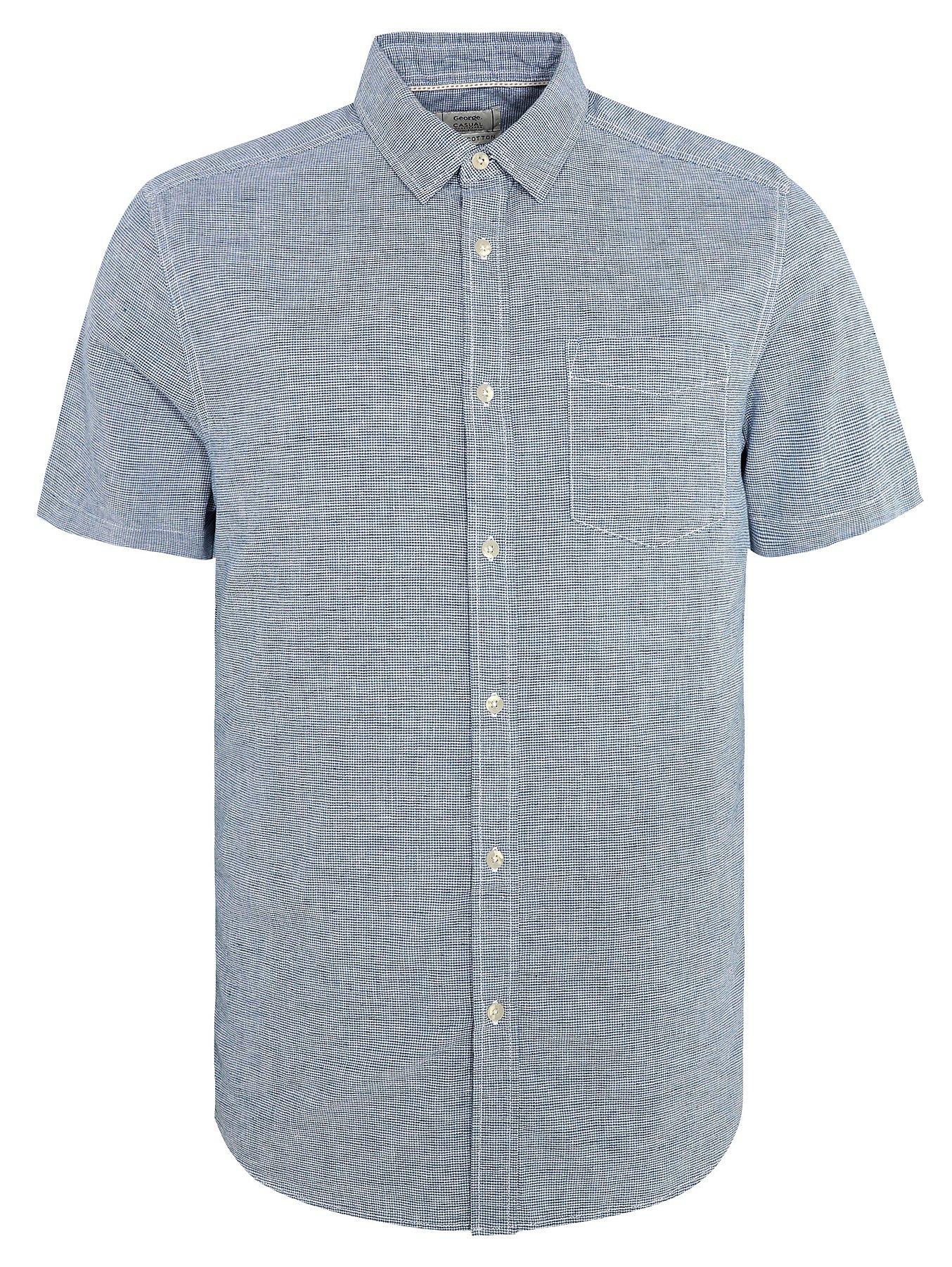 b7ea1bff0 Blue Short Sleeve Linen Blend Dogtooth Shirt | Men | George