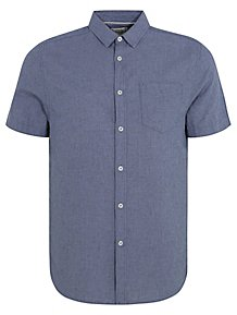 574fe763921 Blue Short Sleeve Linen Blend Shirt