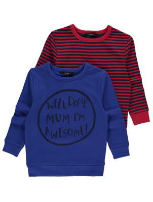 Assorted Slogan and Stripe Sweatshirts 2 Pack