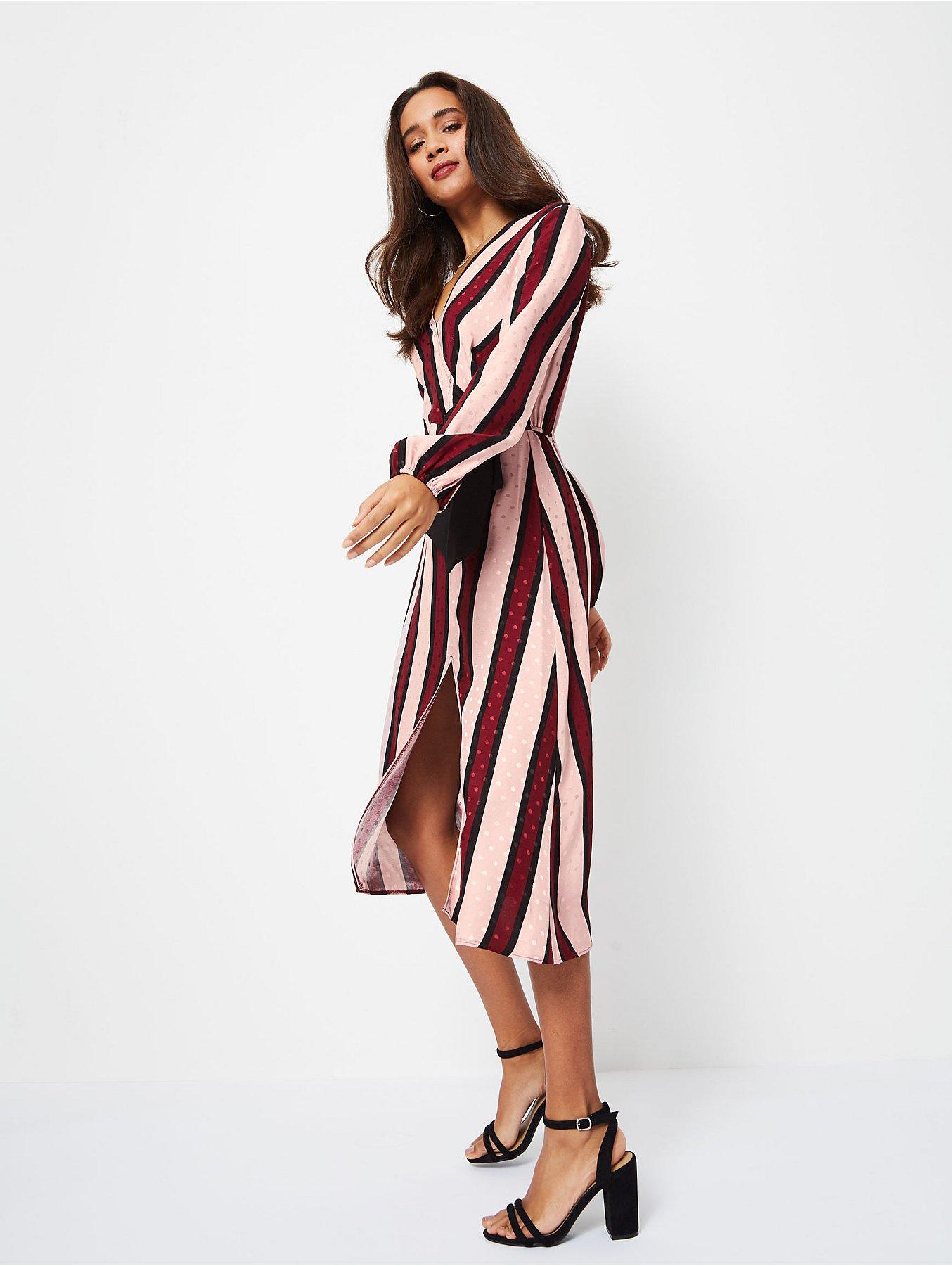 e583138a2a88 Pink Striped Jacquard Wrap-Style Midi Dress. Reset