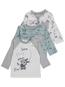 08dece2195a Bunny Print Assorted Long Sleeve Tops 3 Pack