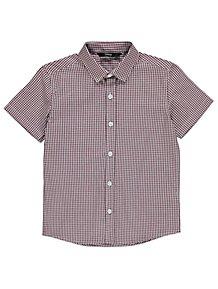 9f9204e6 Burgundy Gingham Woven Check Short Sleeve Shirt