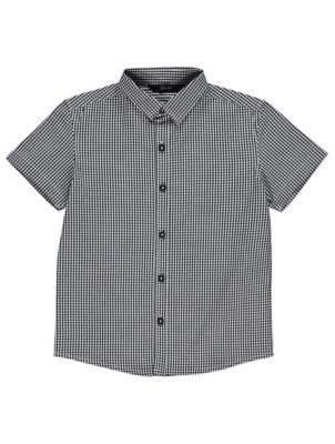 Black Gingham Woven Check Short Sleeve Shirt