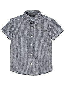 7bcec111509 Navy Woven Striped Short Sleeve Shirt