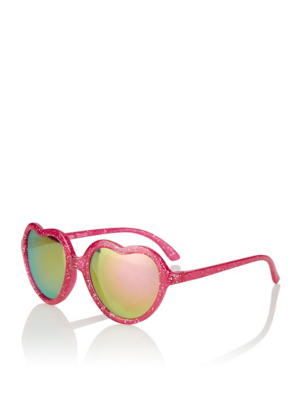 Red Glitter Heart Shaped Sunglasses