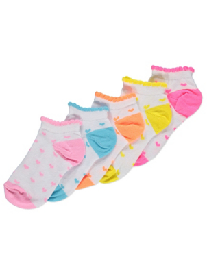 White Heart Pattern Trainer Liner Socks 5 Pack