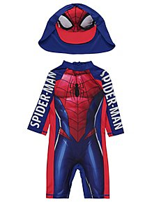 Marvel Spider-Man Sun Protection Swimsuit and Hat Set e20834309