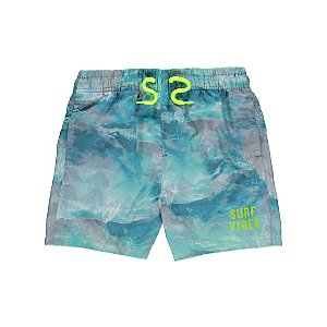 Green Wave Graphic Suf Vibes Slogan Shorts