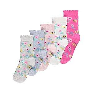 Floral Print Socks 5 Pack