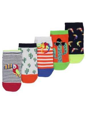 Assorted Cactus Trainer Liner Socks 5 Pack