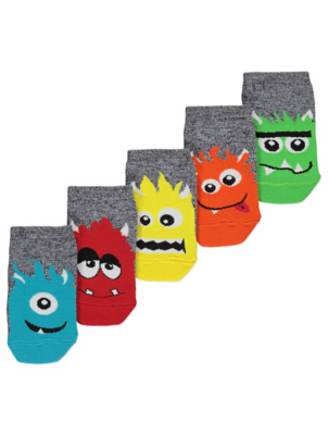 Grey Assorted Monster Trainer Liner Socks 5 Pack