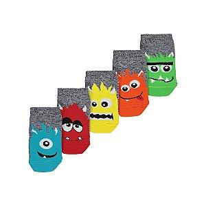 Grey Assorted Monster Trainer Liner Socks 5 Pack