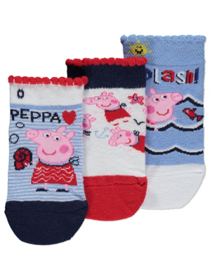 Peppa Pig Frill Detail Trainer Liner Socks 3 Pack