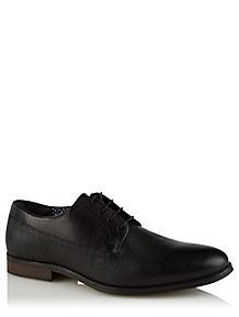 4ea70679882 Black Leather Lace Up Textured Oxford Shoes