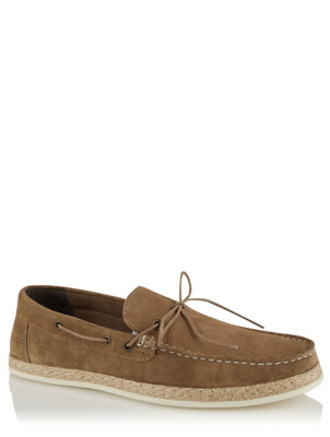 Tan Leather Textured Espadrilles