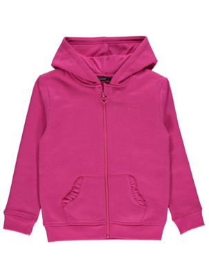 Pink Embroidered Heart Zip-Up Hoodie