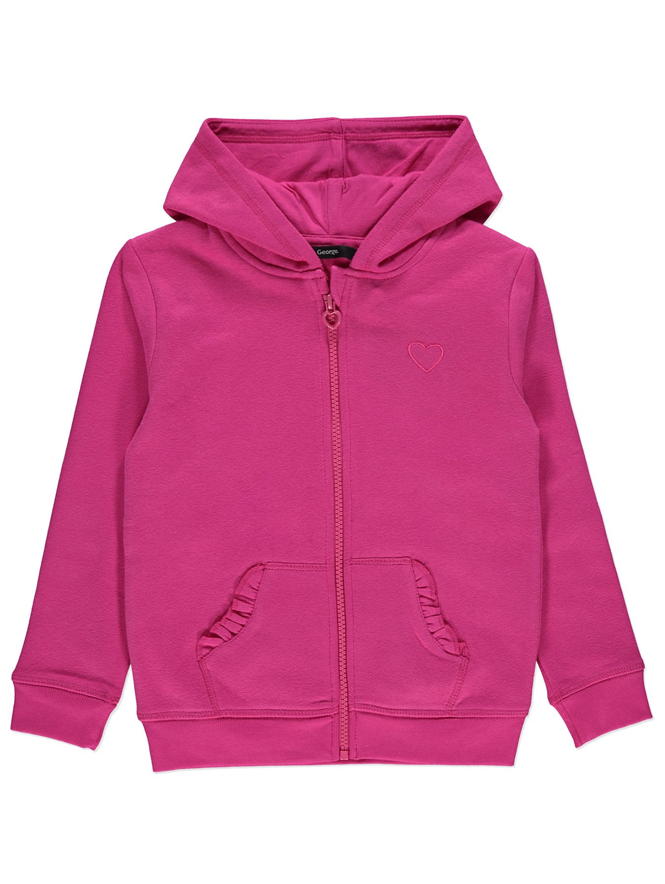 los angeles sale uk first look Pink Embroidered Heart Zip-Up Hoodie