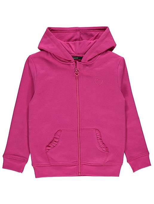 factory price check out fashion style Pink Embroidered Heart Zip-Up Hoodie | Kids | George