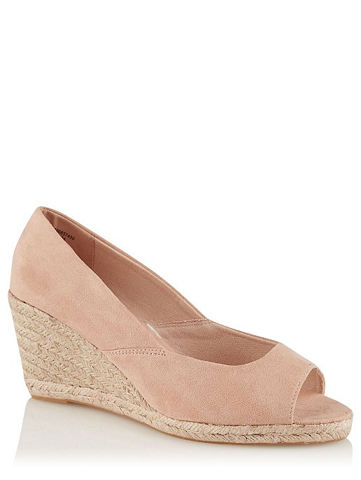 e639b59bedb Nude Peep Toe Wedge Heel Sandals