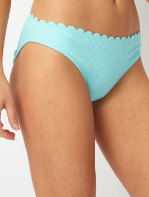 Turquoise Scalloped High Leg Bikini Bottoms