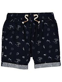 Navy Doodle Print Woven Shorts ef2a6537f1