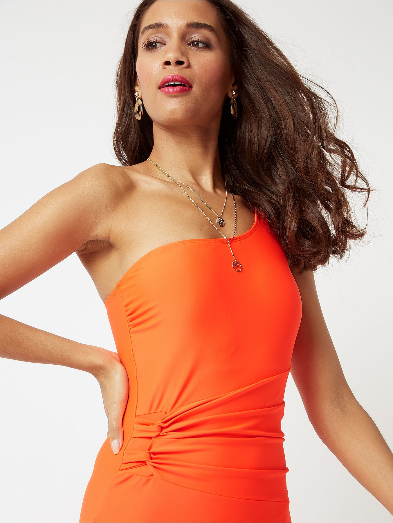 c493d1dae70 Coral Neon One Shoulder Ruched Waist Swimsuit