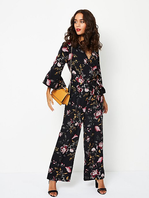 cd182679c9a6 Floral Satin Fluted Sleeve Wrap Style Jumpsuit