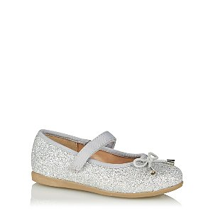 Silver Toned Glitter Ballet Shoes